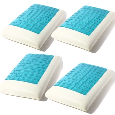 solid foam bed pillows 4pcs solid piece bed memory foam white gel pillows blue
