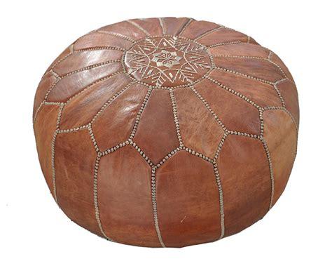 Moroccan Handmade - moroccan leather pouf natur etnodesign se unique