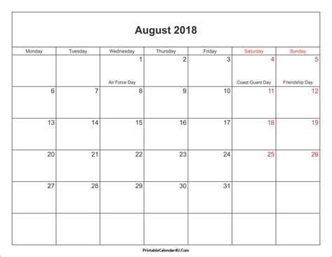 august bank dates august 2018 calendar with holidays calendar for 2019