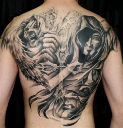 demon ink tattoo grey ink vs on back