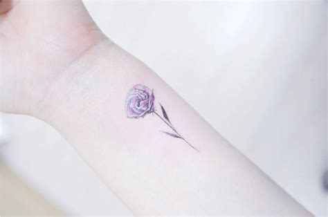 illustrative lisianthus flower tattoo on the left inner