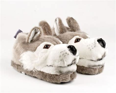 children s animal slippers wolf slippers gray wolf slippers wolf animal slippers