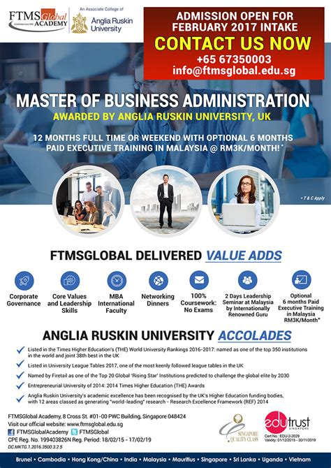 Anglia Ruskin Mba Singapore by Weekend Mba Singapore Anglia Ruskin Mba Uk