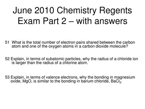 Ppt June 2010 Chemistry Regents Exam Part 2 With