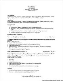 resume objectives for office manager free sles