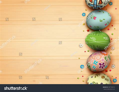3d easter card templates template vector card realistic eggs flowers stock vector