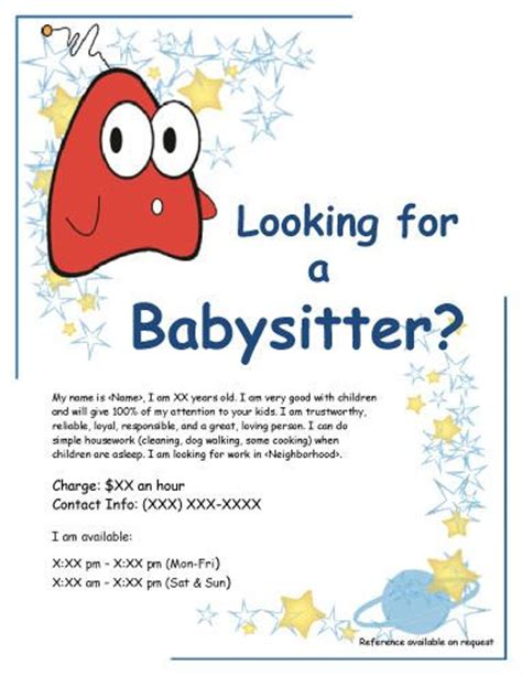 babysitting poster template creature babysitting flyer babysitting flyer