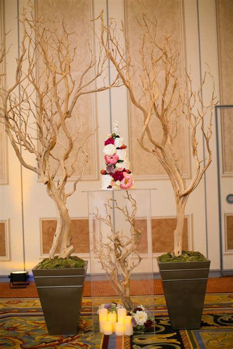enchanted garden manzanita branch wedding cake display