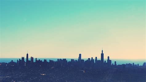 chicago colorful skyline view desktop wallpaper