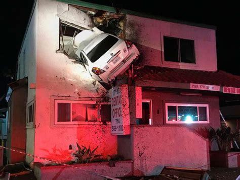 dramatic captures car crashing into 2nd floor dental