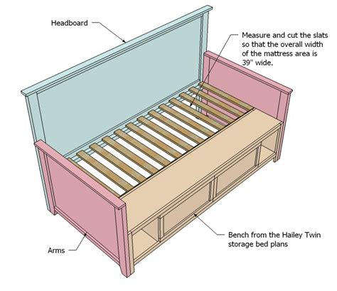 daybed plans twin storage bed plans ana white build a corner hutch