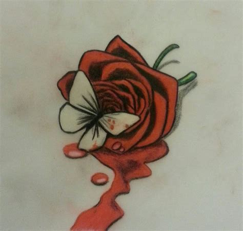 bleeding rose tattoo dongetrabi black drawing bleeding images