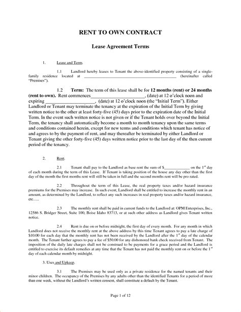 rent to own house contracts 4 rent to own agreement templatereport template document