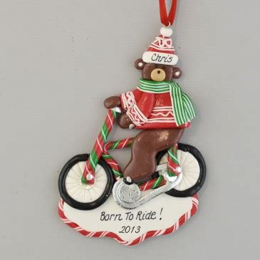 biking bear clay dough christmas ornament calliope designs