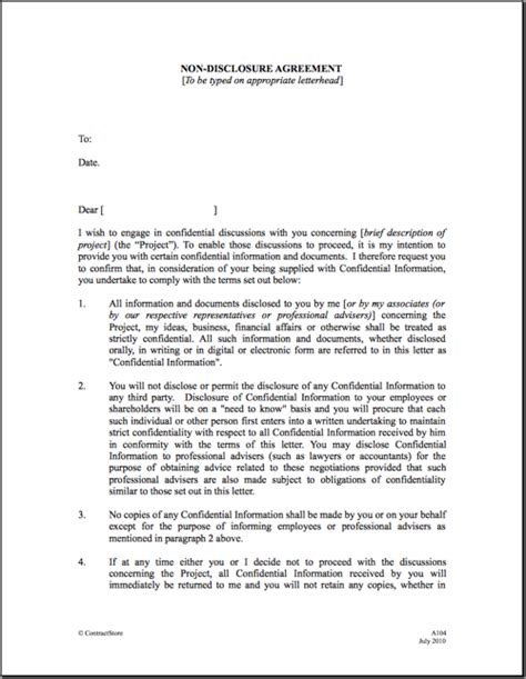 non disclosure confidentiality agreement template 6 non disclosure agreement templates excel pdf formats