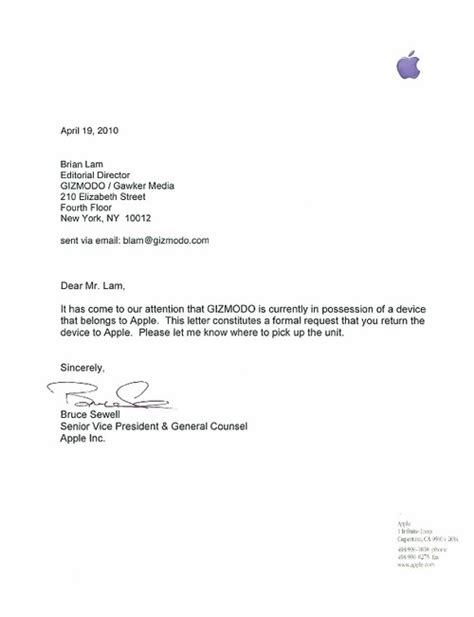 Business Letter To Apple Company apple sends letter to gizmodo asks for iphone 4g