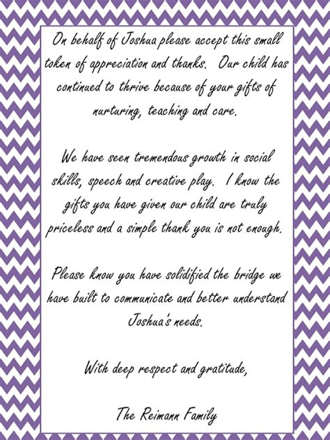 appreciation letter for vice principal thank you note for teachers and therapists classroom