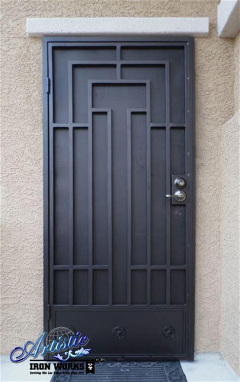 Front Door Security Gates Wrought Iron Security Doors Contemporary Front Doors Las Vegas By Artistic Iron Works