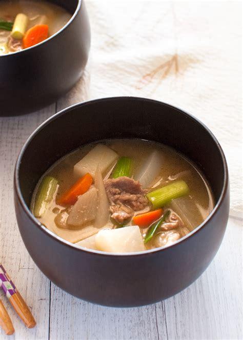 tonjiru pork  vegetable miso soup recipetin japan
