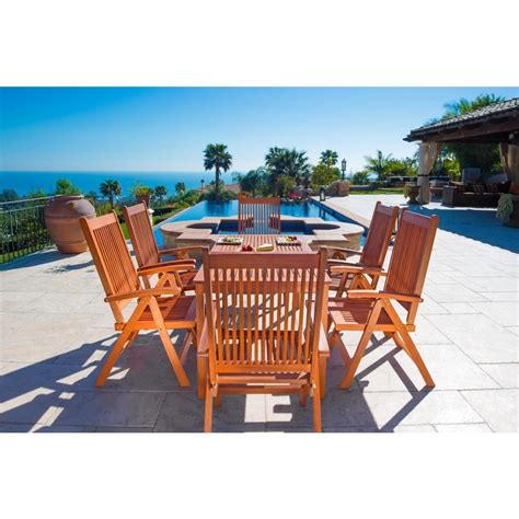 Vifah Balthazar Eucalyptus 7 Piece Patio Dining Set With Folding Patio Dining Set