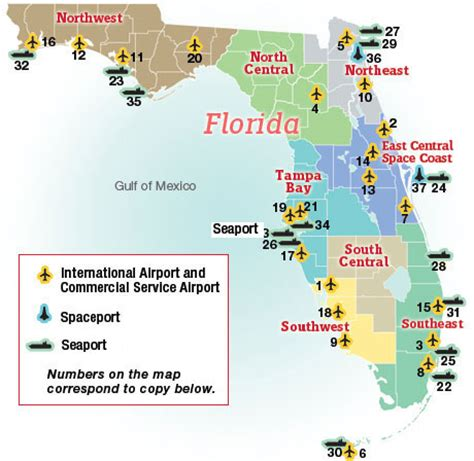 map of florida airports map of florida airports and seaports business florida 2011 florida trend