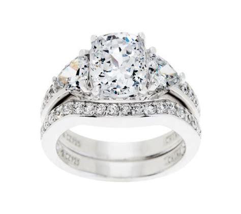 diamonique 2 95 cttw 100 facet bridal ring set platinum