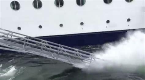 boat crash viral video viral video shows cruise ship crash into a port in alaska
