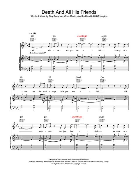 coldplay death and all his friends death and all his friends sheet music by coldplay piano