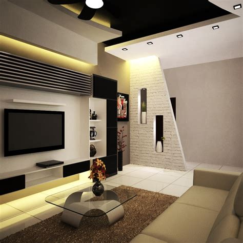 Designer Wall Shelves by Modern Living Room Interior Design Idea
