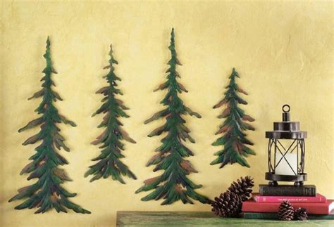 set of 4 metal evergreen pine trees wall woodland home