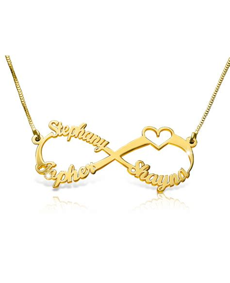 14k gold 3 names and a infinity name necklace the