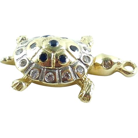 14k yellow and white gold turtle tortoise charm pendant