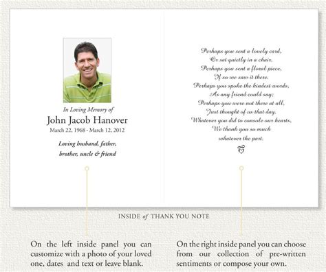 free memorial thank you card template memorial thank you notes by memorial prayer cards