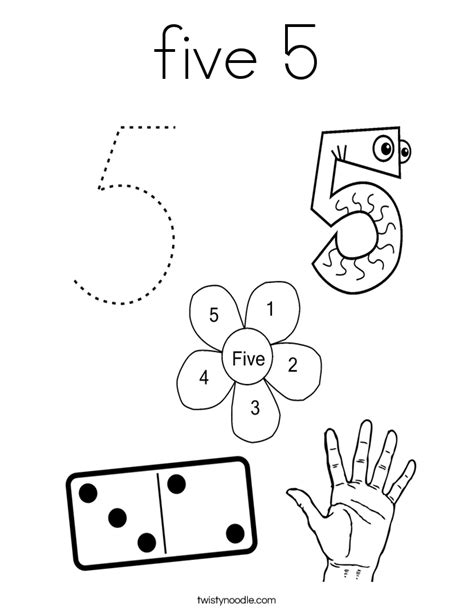 Number 5 Coloring Pages For Toddlers by Five 5 Coloring Page Twisty Noodle