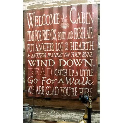 welcome to the cabin corrugated metal sign a simpler time