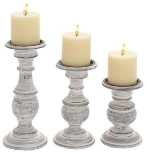 White Candle Holder Set And Sweet Wooden Candle Holder Set Of Three In White