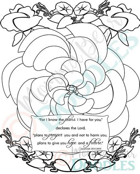 Coloring Page Jeremiah 29 11 by Scripture Coloring Page Flower Jeremiah 29 11 Printable
