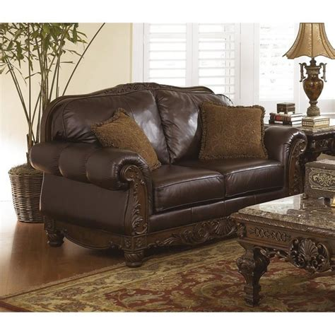 north shore upholstery ashley furniture north shore leather loveseat in dark