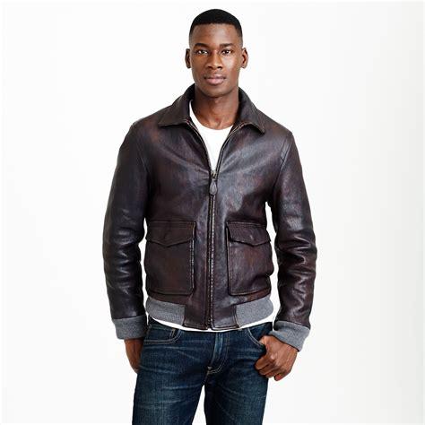 j crew leather flight jacket in brown for men suede brown