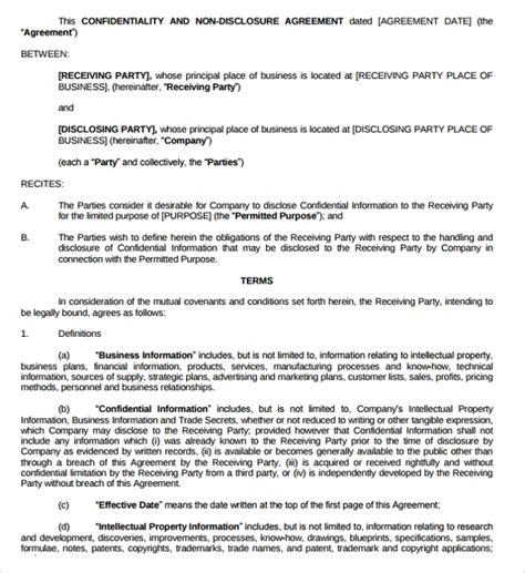 generic non disclosure agreement template 10 generic confidentiality agreement templates sle