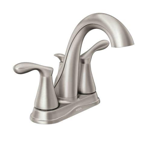 shop moen wetherly spot resist brushed nickel 1 handle shop moen varese spot resist brushed nickel 2 handle 4 in
