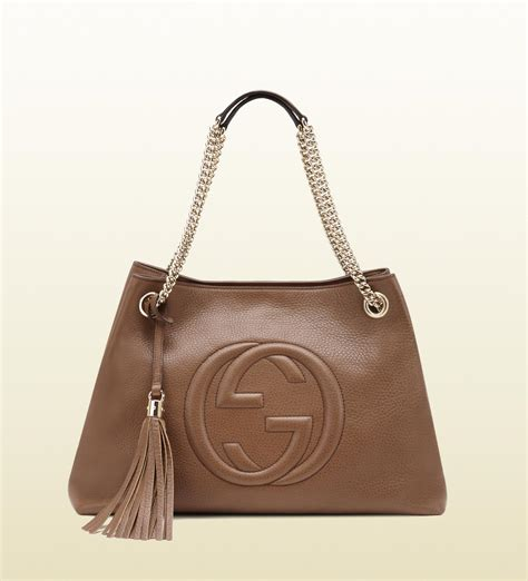Guci Leather gucci soho leather shoulder bag in brown lyst