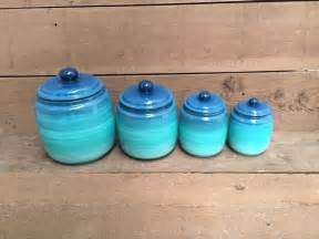 one turquoise 211 mbre kitchen canister ombre gradient shades anchor hocking cracker jar 3pc kitchen canister set in