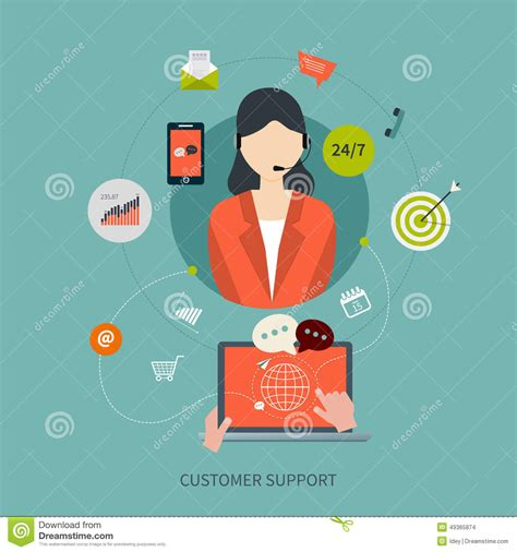 vector flat customer office concept business customer care service concept flat icons stock vector image 49365874