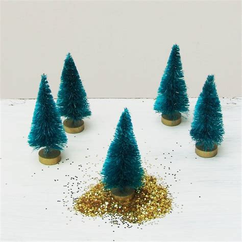 10 teal bottlebrush mini christmas trees by just add a