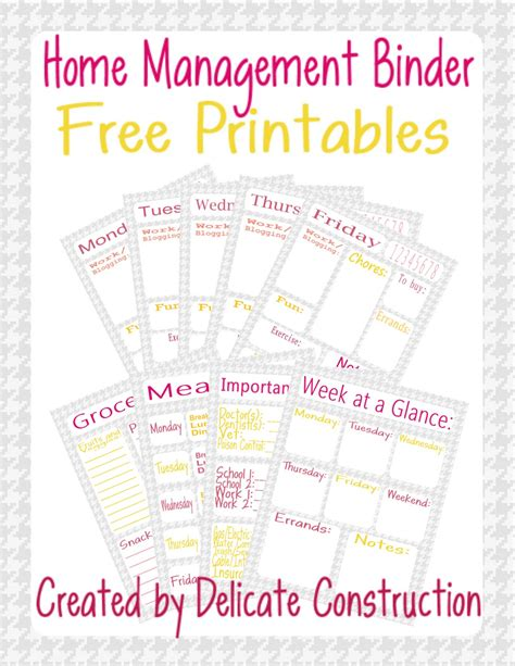 home management binder free printables delicate