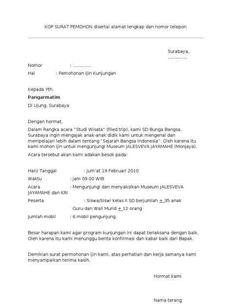contoh surat permohonan kunjungan ke monjaya