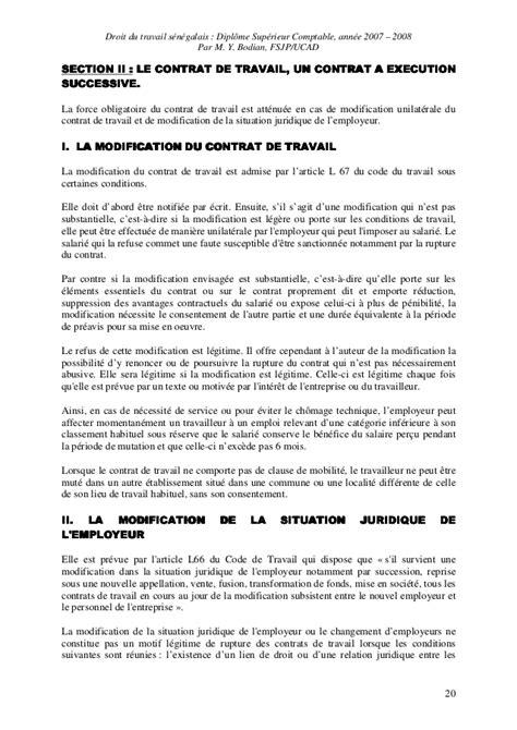 Modification Contrat De Travail Réorganisation by Droit Du Travail