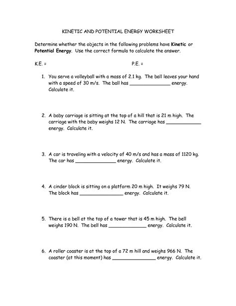 Energy And Worksheet Answers by 17 Best Images Of Potential Energy Practice Problems