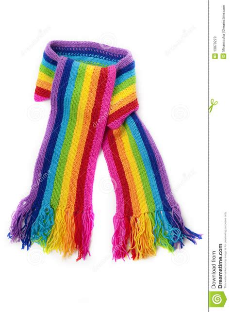 knitting pattern for rainbow scarf bright rainbow knitted scarf stock image image 13879279